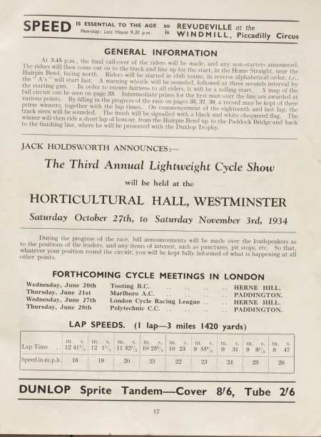 Page 17 of the 1934 World's Cycling Championship Trial programme
