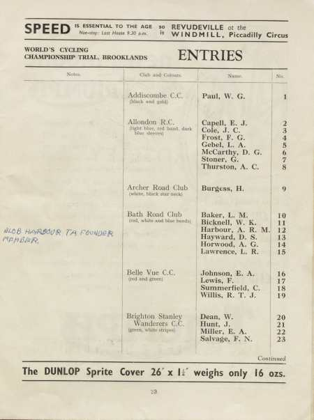 Page 23 of the 1934 World's Cycling Championship Trial programme