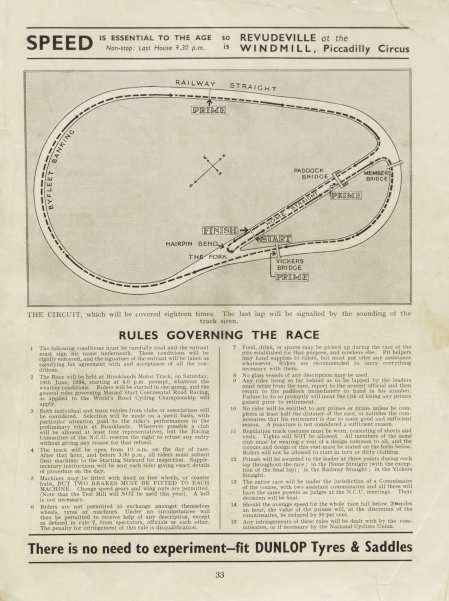 Page 33 of the 1934 World's Cycling Championship Trial programme