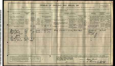 The Jones family in the 1911 census