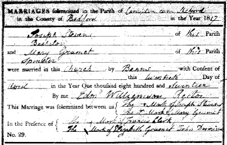 Marriage record from Campton, Bedfordshire