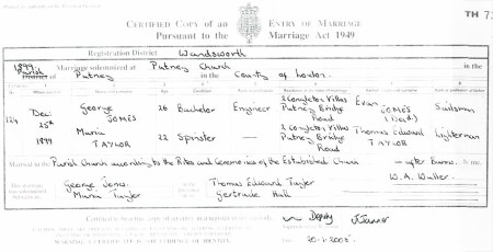 Marriage certificate from 25 December 1899