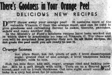 Recipe for orange zest scones from 1944